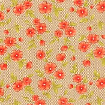 Moda Farmhouse Med Floral on Taupe Background 20255-15
